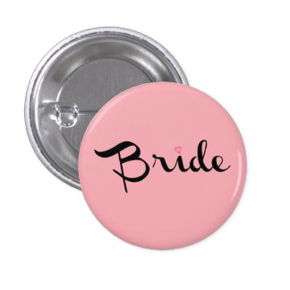 Bride Retro Script Pink Pinback Buttons