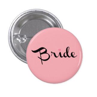 Bride Retro Script Pink Pinback Button
