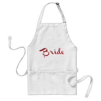 Bride Retro Script Red Adult Apron