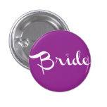 Bride Retro Script White 1 Inch Round Button