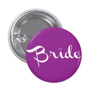 Bride Retro Script White Button