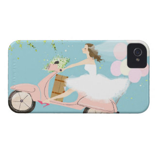 Bride Riding a Scooter iPhone 4 Cover