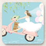 Bride Riding a Scooter Drink Coasters