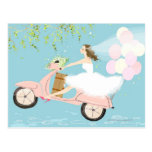 Bride Riding a Scooter Post Cards