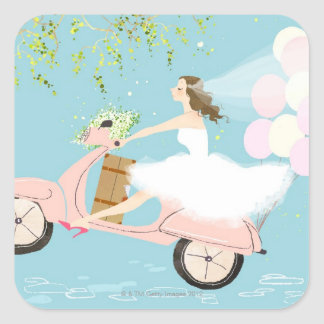 Bride Riding a Scooter Square Sticker