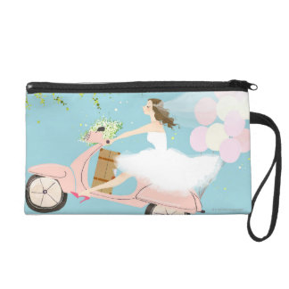 Bride Riding a Scooter Wristlet
