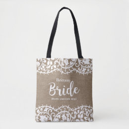 Bride Rustic Lace Burlap Wedding Personalized Tote Bag