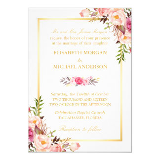 (Bride's Parents) Elegant Floral Chic Gold Wedding Card