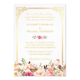 Bride's Parents Vintage Gold Frame Floral Wedding Card