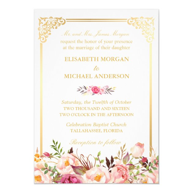 Bride's Parents Vintage Gold Frame Floral Wedding Card