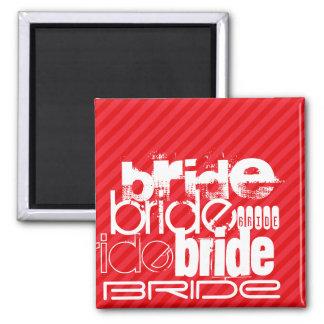 Bride; Scarlet Red Stripes 2 Inch Square Magnet