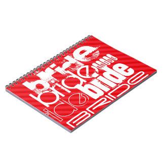 Bride; Scarlet Red Stripes Spiral Note Book