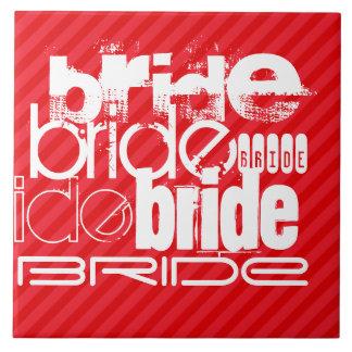 Bride; Scarlet Red Stripes Large Square Tile