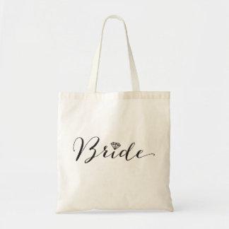 Bride Script Diamond Bridal Party Wedding Tote Bag