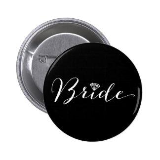 Bride Script Diamond Chic Wedding Bridal Party Pinback Button