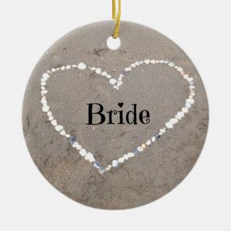 Bride Sea Shell Heart Ceramic Ornament