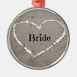 Bride Sea Shell Heart Metal Ornament