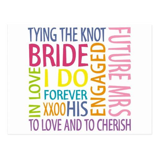 Bride Sentiments Wedding Postcard