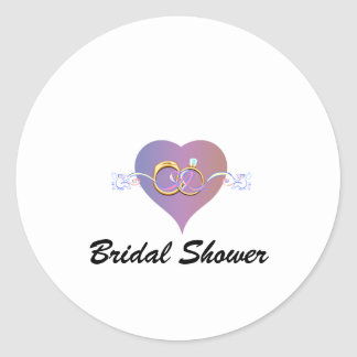 BRIDE SHOWER WEDDING RINGS BAND PARTY CLASSIC ROUND STICKER