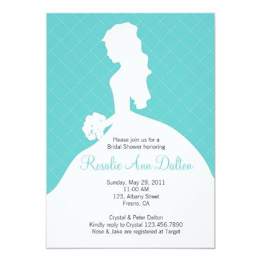 Bride Silhouette - Bridal Shower Invitaion (Teal) 5x7 Paper Invitation Card
