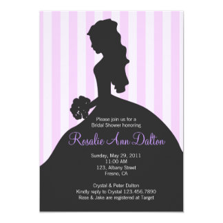 Bride Silhouette - Bridal Shower Stripes (Purple) Card