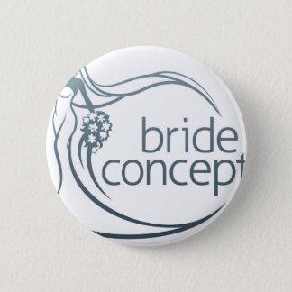 Bride Silhouette Flower Bouquet Concept Pinback Button