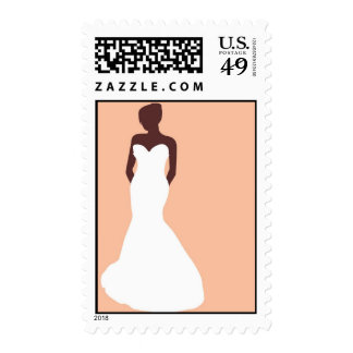 Bride Silhouette - Mermaid Dress Postage Stamps