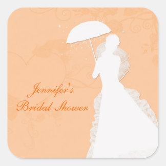 Bride Silhouette, Orange Hearts, Sticker