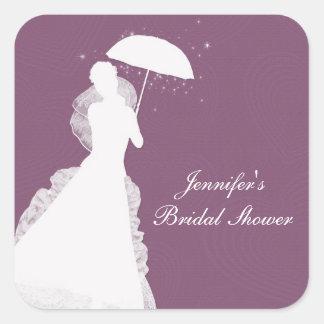 Bride Silhouette, Purple Hearts, Sticker