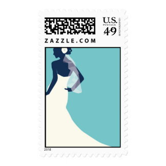 Bride Silhouette - Turquoise Postage