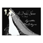 Bride Silhouette Wedding Dress Veil Bridal Invite