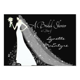 "Bride Silhouette Wedding Dress Veil Bridal Invite 5"" X 7"" Invitation Card"
