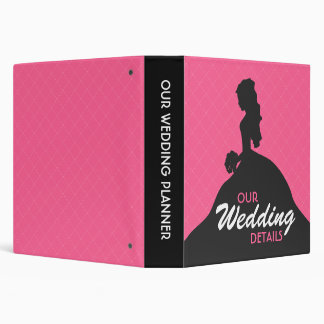 Bride Silhouette Wedding Planner (pink) 3 Ring Binder