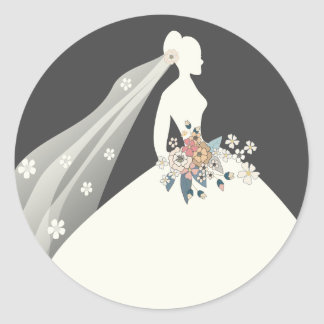Bride silhouette with  floral bouquet classic round sticker