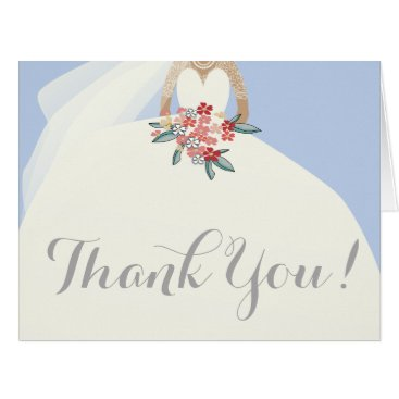 weddingbouquet Bride silhouette with flowers bouquet thank you card