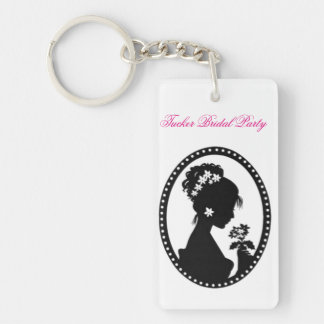Bride Silhouette with Flowers Keychain