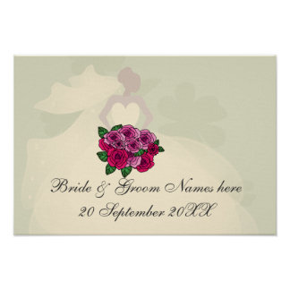 Bride silhouette with roses bouquet poster