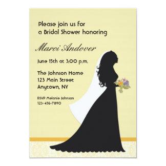 Bride Silhouette, Yellow, Lace, Invitation