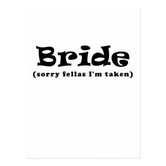 Bride Sorry Fellas Im Taken Postcard