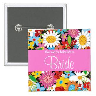 BRIDE Spring Flowers Garden Wedding Name Tag Pinback Button