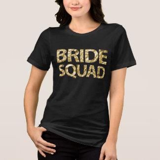 Bride Squad Gold Foil Black Womens Plus Size T-Shirt