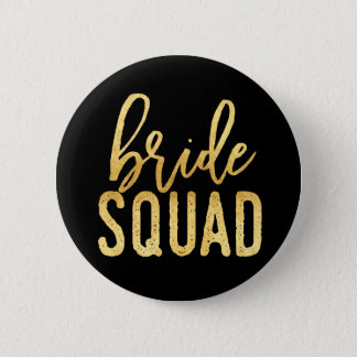 Bride Squad Gold Pinback Button