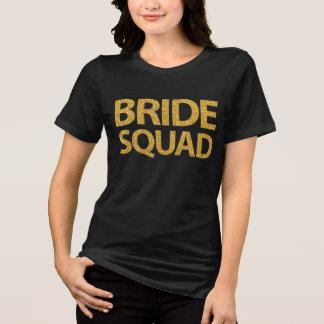 Bride Squad Gold Sequins Black Womens Plus Size T-Shirt