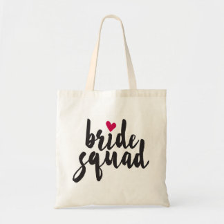 Bride Squad Red Heart Tote Bag