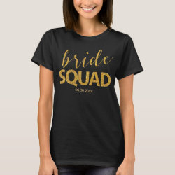 Bride Squad Shirts With Gold Sequins Effect