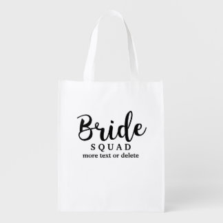 Bride Squad, Team Bride, Chic Modern Wedding Party Grocery Bags