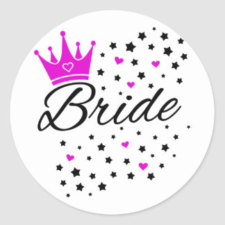 Bride Stars Hearts and Crown.png Classic Round Sticker