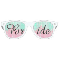 Bride Summer Pink Teal Watercolor Wedding Retro Sunglasses