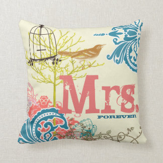 Bride Teal Damask Love Bird  Birdcage Mrs. Forever Throw Pillow