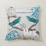 Bride Teal Damask Love Bird  Birdcage Pillow
